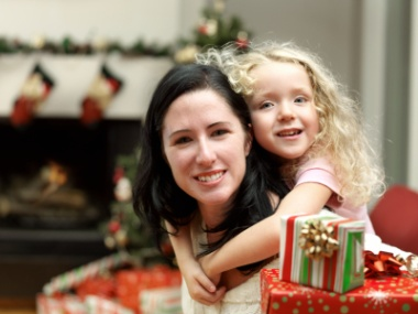 Mother and  daughter at Christmas time.