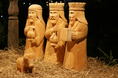 The three wise men carved of wood