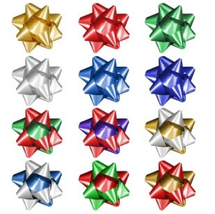 Twelve bows of different colors