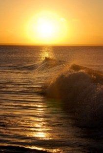 Sunset With Splashing Waves
